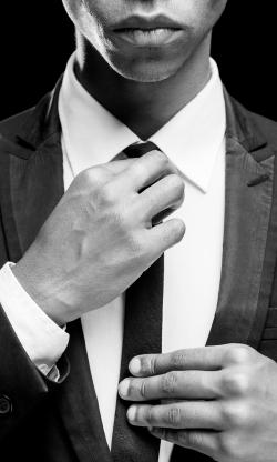 Man Skinny Tie - Face Hidden - BW