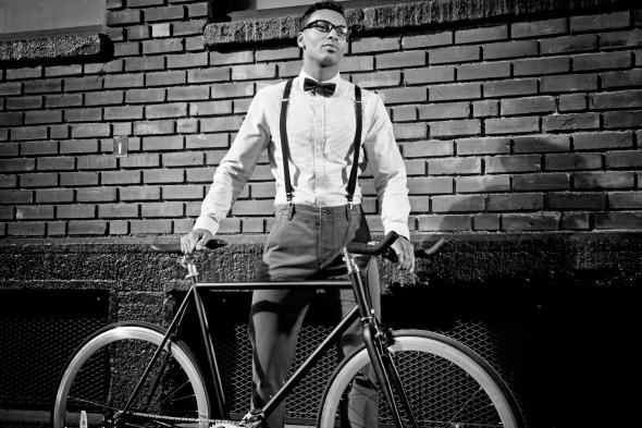 Urban Bicyclist w Bow Tie - BW
